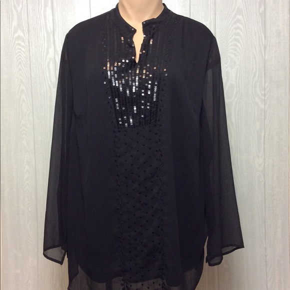 Liz & Me Tops - Gorgeous Black Sequin Blouse PLUS SIZE